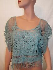 Paradise USA NWT Cover Knit Crochet Frinch Poncho Cover Up Green Small/ Medium