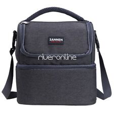 Gray Dual Compartment Insulated Lunch Box Bag Reusable Cooler Bag for Men Women