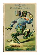 Victorian Trade Card salesman's sample  Haddocks Cards DANDY FROG First Suit