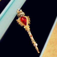 CROWN Vintage Scepter Brooch Pin Large Gold Plated Rhinestone CROSS Gift