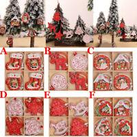 12x Christmas Snowflakes Wooden Pendants Xmas Tree Ornaments Home Hanging Decor