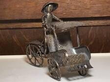 Vintage Chinese bicycle pedicab rickshaw metal art figurine