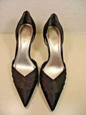 Ann Taylor Black Satin High Heel Pumps Pointed Toe Pleated Front sz 7 NICE