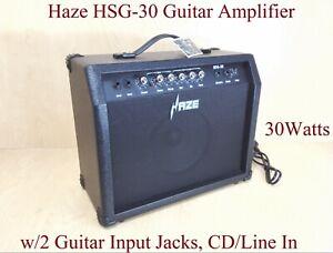 Haze HSG-30 Guitar Amplifier, 30Watt, Black,Light-Weight w/2 Guitar Input Jacks