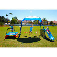 Swing Sets For Backyard Outdoor Kids Trampoline Metal Playground Kit Children