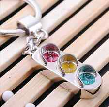 Fashion Mini Traffic Light Key Ring Chain Classic 3D Solid Keyfob Keychain 2pcs
