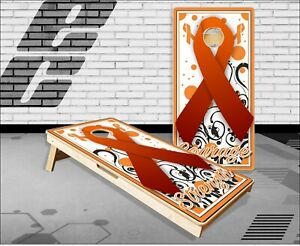 Orange Ribbon Hope Cornhole Boards Bean Bag Toss Game