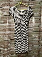Size XS | Max Studio Black Stripe V-Neck Twist Front Cap Sleeve Dress