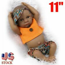 11'' African American Reborn Baby Dolls Lifelike Newborn Full Vinyl Silicone US