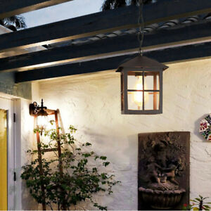 French Country Clear Glass Black/Brass Metal Lantern Garden Ceiling Pendant Lamp