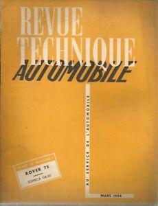 REVUE TECHNIQUE AUTOMOBILE 95 RTA 1954 ROVER 75 TRACTEUR SOMECA DA 50 DA50 DA-50