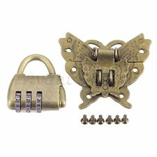 Retro Style Chinese Password Padlock Lock Key with Butterfly Box Latch Clasp Set