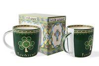 Royal Tara Set of 2 Irish Mugs Twin Pack Bone China Cups 370ml /12.5fl oz Green