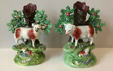 Pair Antique Staffordshire Walton Pearlware Bocage Sheep & Lamb Spill Vases