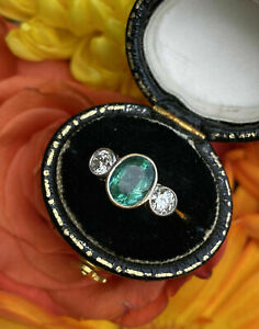 Antique Perfect Vintage Art Deco Wedding Ring 14K White Gold Over 1.9 Ct Emerald