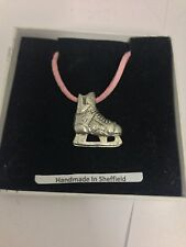 Ice Hockey Boot Sport PP-SP13 Pewter Pendant on a PINK CORD Necklace