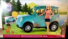 New Barbie Camping Fun Doll And Vehicle Blue Suv!