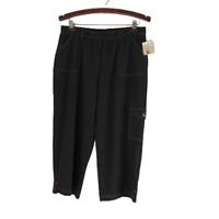 Covington Petite Womens Cargo Knit Capri Crop Pants Black Size L Large P Petite