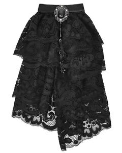 Punk Rave Regency Cravat Jabot Tie Black Lace Gothic VTG Steampunk Aristocrat