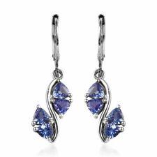 Trilhões Azul Tanzanite Dangle brincos Gota 925 Sterling Silver Jewelry Ct 1.9