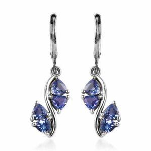 Trillion Blue Tanzanite Dangle Drop Earrings 925 Sterling Silver Jewelry Ct 1.9