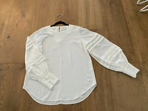 Witchery Pintuck Sleeve Blouse (Chalk) - Size 10 - Brand New Sample