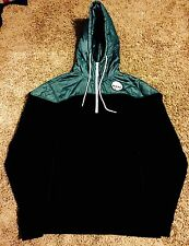 Neff International 1/2 Zip Teal Black Hoodie Sweatshirt Mens Size Medium