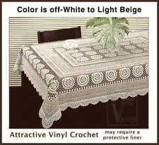 """Vinyl CROCHET BEIGE 54"""" x 72"""" Looks like the real thing but better EZ-Clean #035"""