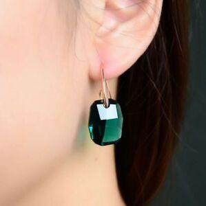 Green Emerald Shape Earrings Austria Crystal Jewellery Rose Gold Plated Earrings
