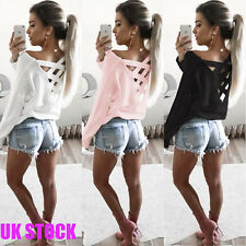 Fashion Women Bandage Lace Up Back Cross T-Shirt Long Sleeve Casual Blouse Tops