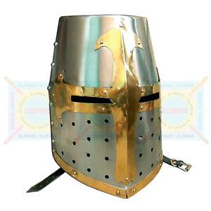 Medieval Knight Helmet Norman Crusader Templar Helmet w/ Mason's Brass Cross new
