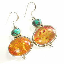 Amber Sterling Silver Fine Earrings