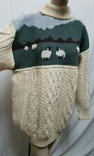 British Wool Naturally NEW Turtleneck Sheep Cable Knit Sweater Sz L