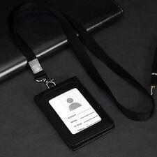 PU Leather ID Card Holder Credit Case Badge Slim Reel Name Lanyard Purse Wallet