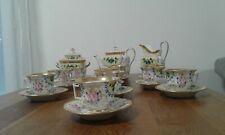 ancien service a cafe-the-porcelaine de paris-blanc et or et fleurs