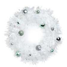 white christmas wreath w/ ornaments 18in