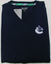 Vancouver Canucks Men's NHL Sweater Long Sleeve Shirt Embroidered Navy Large New