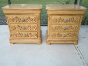 Vintage Two Nightstand Carved Wood Three Drawer By Comitia Molina Set of 2