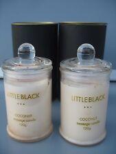 """NEW"" 2 x LITTLE BLACK COCONUT MASSAGE SOY WAX DRESS CANDLES 2 x 120g GLASS JARS"