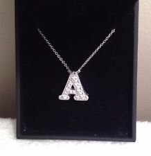 "Sterling Silver White Sapphire Pendant Initial  ""A""  PETRA AZAR Magnetic Clasp"