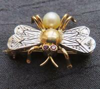 Fine Antique 18k Yellow & White Gold Rubies FLY/BEE Brooch Pin