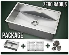 """30"""" Single Bowl Undermount Combo Stainless Steel Kitchen Sink Zero Radius Packag"""