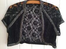 CCDK Copenhagen Black Lace Silver Beaded Shrug 20s Peaky Blinder Style Sz14 EU40