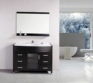 "Design Element DEC017-W Waterfall 48"" Single Sink Vanity Set w/White Top"