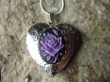 Heart Locket - Unique, Handmade Purple/Black Rose Cameo Silver Plated
