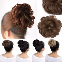 2PCS Lady Brown Curly Messy Bun Hairpiece Scrunchies Updo Cover Hair Extension-W