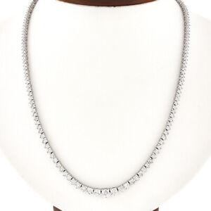 "14K Gold 18"" 4.25ct Graduated Illusion Set Round Diamond Riviera Tennis Necklace"