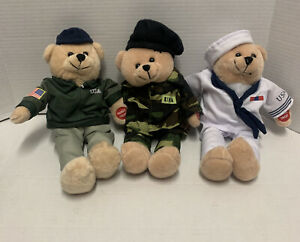 Chantilly Lane Musical Bear Uniform America's Military Heroes Edition Lot of 3