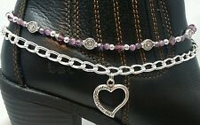 Purple Crystals Glass Silver Chain Heart Mother's Day Gift Boot Bling Jewelry