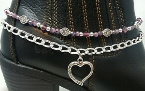 Handmade Ankle Boot Bling Bracelet Anklet Chain Purple Heart Charm Handcrafted